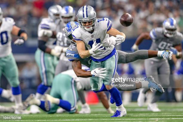 Detroit Lions cornerback Quandre Diggs breaks up a pass to Dallas Cowboys wide receiver Cole Beasley during the game between the Detroit Lions and...