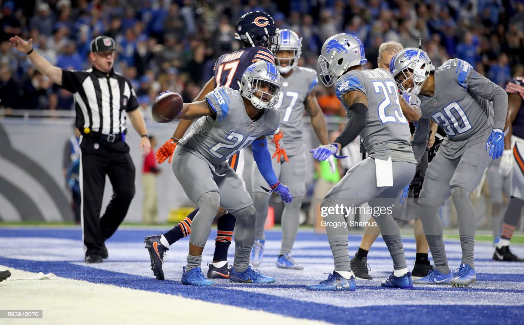 Detroit Lions cornerback Quandre Diggs #28 celebrates his second half interception against the Chicago Bears at Ford Field on December 16, 2017 in Detroit, Michigan.