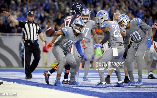 Detroit Lions cornerback Quandre Diggs celebrates his second half interception against the Chicago Bears at Ford Field on December 16 2017 in Detroit...
