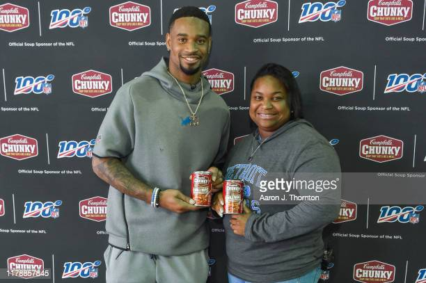 Detroit Lions' Darius Slay, his mom Stephanie Lowe and Campbell's Chunky Soup provide Thanksgiving feast for firefighters and police officers on...