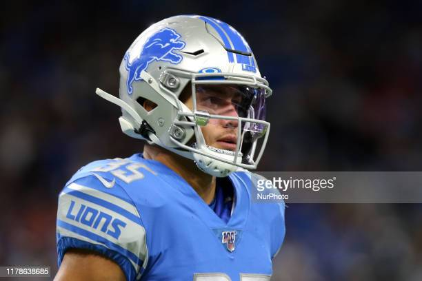 Detroit Lions defensive back Miles Killebrew runs off the field during the second half of an NFL football game against the New York Giants in...