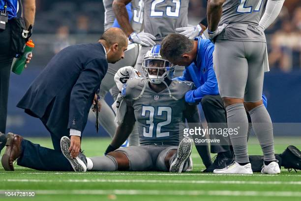 Detroit Lions defensive back Tavon Wilson is tended to during the game between the Detroit Lions and Dallas Cowboys on September 30 2018 at ATT...