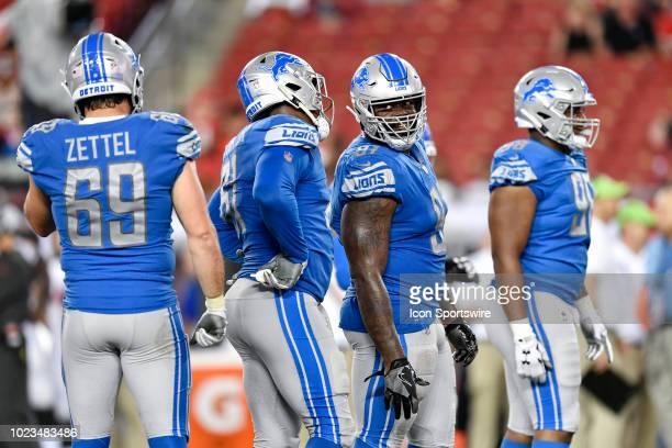 Detroit Lions defensive end Anthony Zettel Detroit Lions defensive end Kerry Hyde Jr Detroit Lions defensive tackle A'Shawn Robinson and Detroit...