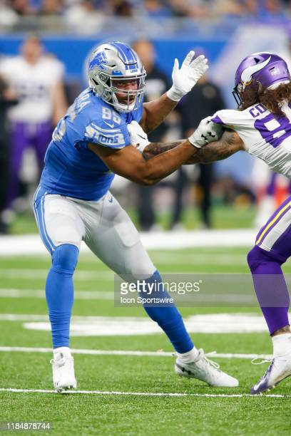 Detroit Lions defensive end Romeo Okwara rushes during regular season game action between the Minnesota Vikings and the Detroit Lions on October 20,...
