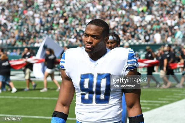 Detroit Lions Defensive End Trey Flowers looks on during the game between the Detroit Lions and the Philadelphia Eagles on September 22, 2019 at...