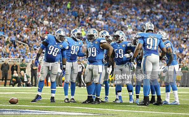 Detroit Lions defensive line Nick Fairley George Johnson CJ Mosley and Tahir Whitehead line up during the fourth quarter of the game against the...