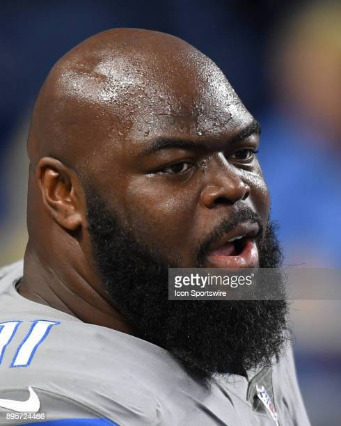 Detroit Lions defensive tackle A'Shawn Robinson warms up prior to a game between the Chicago Bears and the Detroit Lions on December 16 at Ford Field...