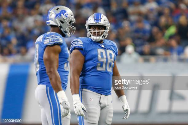 Detroit Lions defensive tackle Jeremiah Ledbetter looks on during preseason game action between the New York Giants and the Detroit Lions on August...