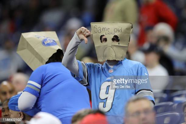 Detroit Lions fan gives a thumbs down during a game against the Tampa Bay Buccaneers at Ford Field on December 15, 2019 in Detroit, Michigan.