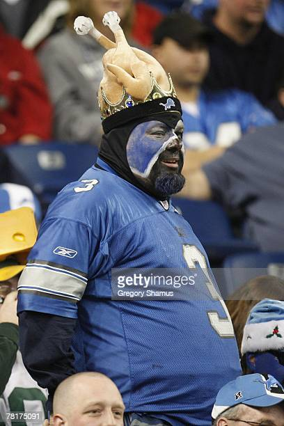 Detroit Lions fan looks on during the game against the Green Bay Packers on November 22 2007 at Ford Field in Detroit Michigan