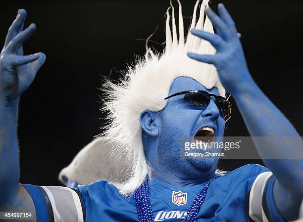 Detroit Lions fan reacts after a second quarter touch down while playing the New York Giants at Ford Field on September 8 2014 in Detroit Michigan
