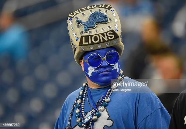 Detroit Lions fan waits for the start of the game against the Buffalo Bills at Ford Field on October 05 2014 in Detroit Michigan