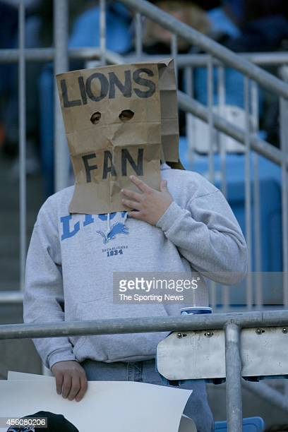 Detroit Lions fan wears a paper bag over his head during a game Carolina Panthers on November 16 2008 at the Bank of America Stadium in Charlotte...