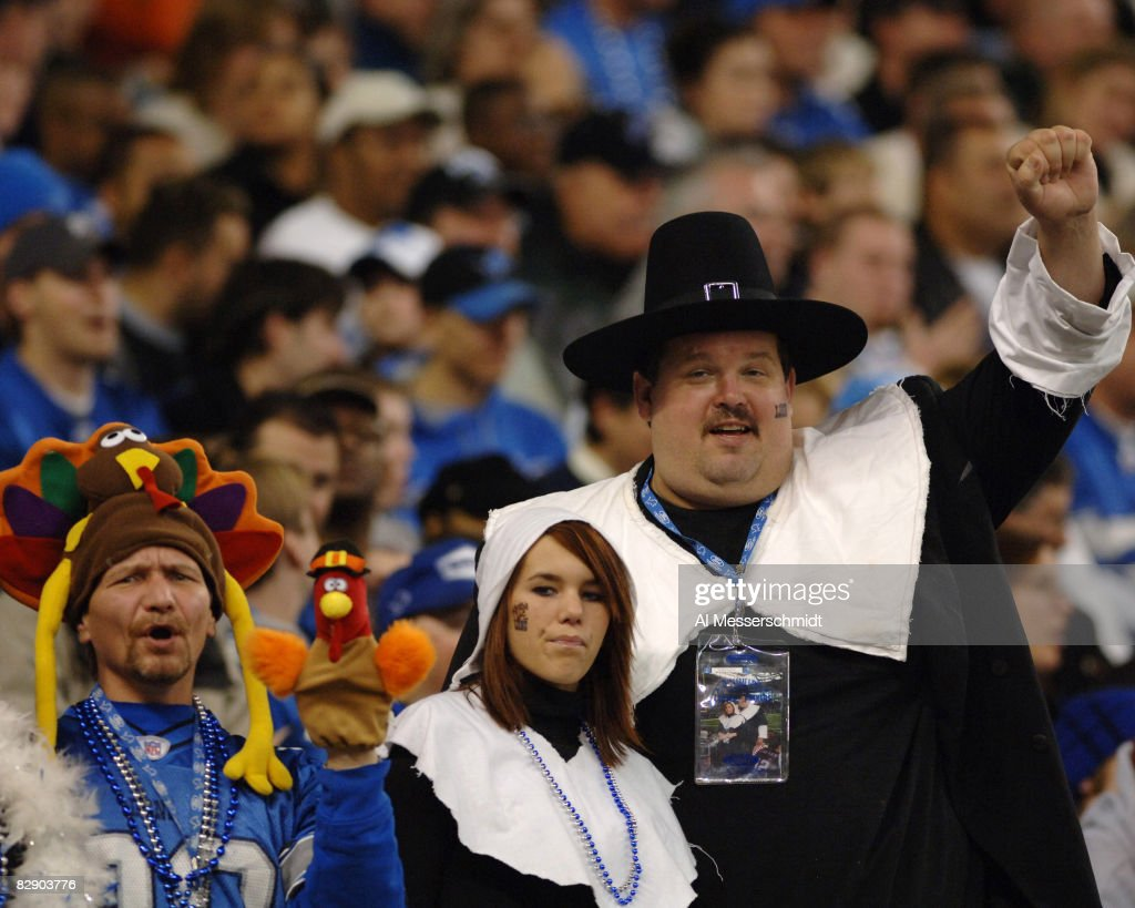 Detroit Lions fans are decked in Thanksgiving Day costumes, November 24, 2005, at Ford Field, Detroit. The Atlanta Falcons defeated the Lions 27 - 7.