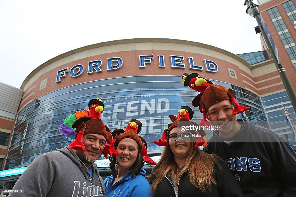 Detroit Lions fans arrive at Ford Field prior to the start of the Thanksgiving game between the Philadelphia Eagles and the Detroit Lions on November 26, 2015 at Ford Field in Detroit, Michigan.