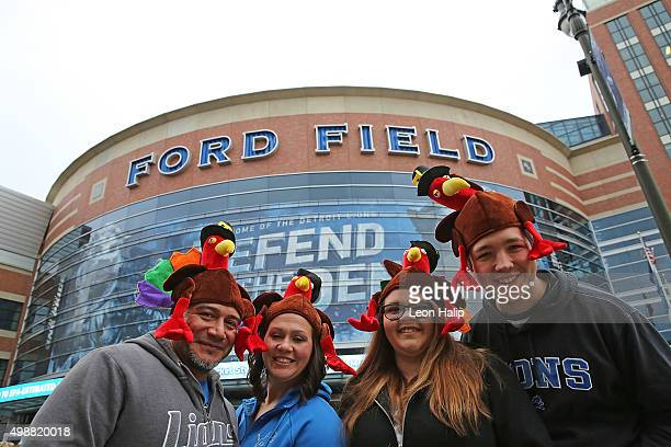 Detroit Lions fans arrive at Ford Field prior to the start of the Thanksgiving game between the Philadelphia Eagles and the Detroit Lions on November...