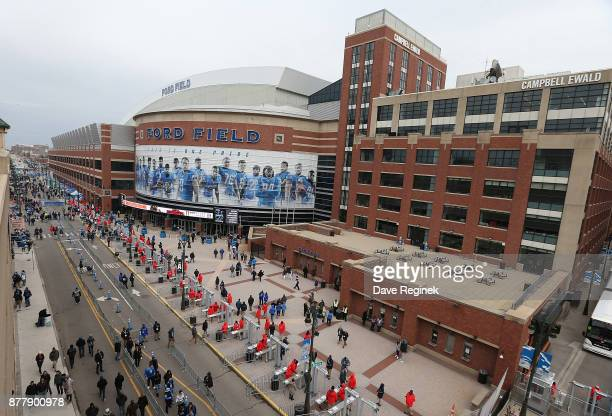 Detroit Lions fans arrive at the stadium before the start of the Detroit Lions and Minnesota Vikings NFL game at Ford Field on November 23 2017 in...