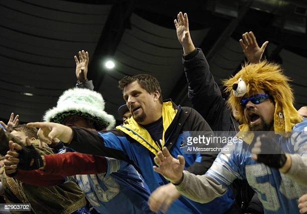 Detroit Lions fans cheer the team during a Thanksgiving Day game November 24 at Ford Field Detroit The Atlanta Falcons defeated the Lions 27 7