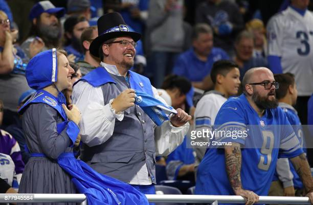 Detroit Lions fans dress for Thanksgiving at Ford Field on November 23 2017 in Detroit Michigan