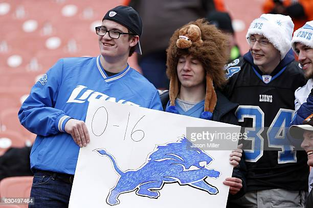 Detroit Lions fans look on before the start of the game between the Cleveland Browns and the San Diego Chargers at FirstEnergy Stadium on December 24...
