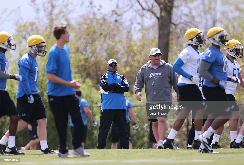 Detroit Lions first year head coach Jim Caldwell watches the action during Rookie Minicamp on May 17, 2014 in Allen Park, Michigan.