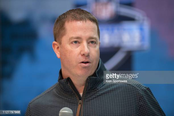 Detroit Lions general manager Bob Quinn answers questions during the NFL Scouting Combine on February 27 2019 at the Indiana Convention Center in...