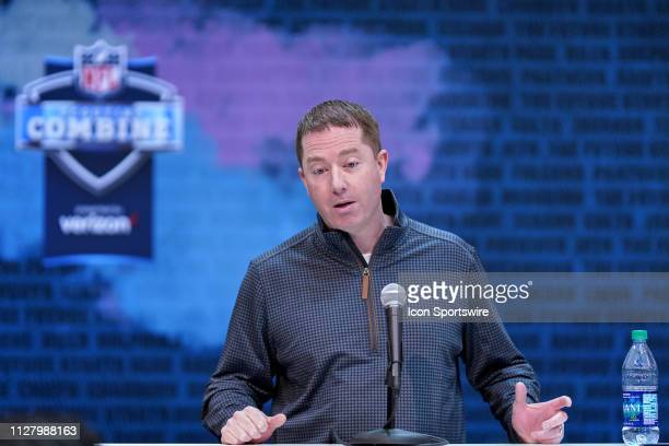 Detroit Lions general manager Bob Quinn speaks to the media during the NFL Scouting Combine on February 27 2019 at the Indiana Convention Center in...