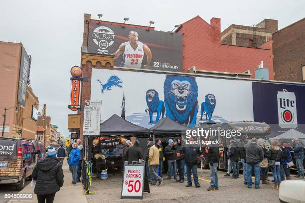 Detroit Lions have some tailgate fun before the Thanksgiving Day Game against Minnesota Vikings at Ford Field on November 23 2016 in Detroit Michigan...