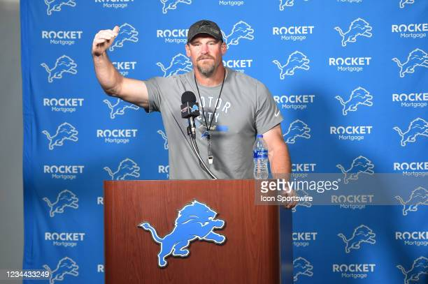 Detroit Lions head coach Dan Campbell answers questions in the morning press conference during the Detroit Lions preseason OTA practice on Tuesday...