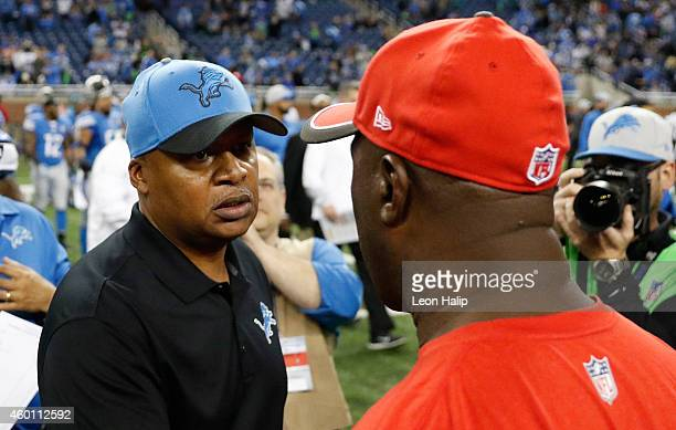 Detroit Lions head coach Jim Caldwell exchanges post game hand shakes with Tampa Bay Buccaneers head coach Lovie Smith at Ford Field on December 7...