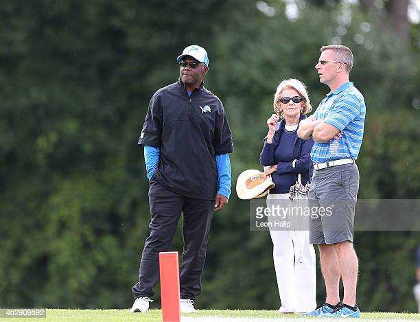 Detroit Lions head coach Jim Caldwell Owner and Chairman Martha Firestone Ford and President Tom Lewand watch the action during training camp at the...
