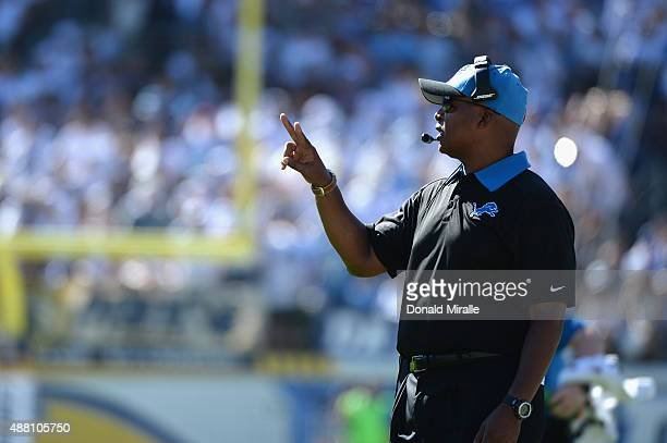 Detroit Lions head coach Jim Caldwell stands on the sidelines during a game against the San Diego Chargers at Qualcomm Stadium on September 13, 2015...