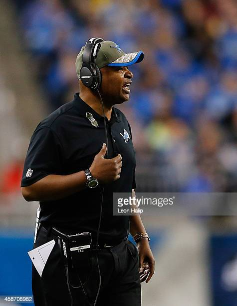 Detroit Lions head coach Jim Caldwell watches the action during the fourth quarter of the game against the Miami Dolphins at Ford Field on November...