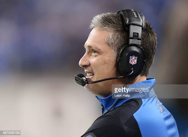 Detroit Lions head coach Jim Schwartz watches the action during the second quarter of the game against the Baltimore Ravens at Ford Field on December...