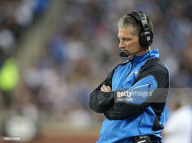 Detroit Lions head coach Jim Schwartz watches the video replay during the second quarter of the game against the Dallas Cowboys at Ford Field on...