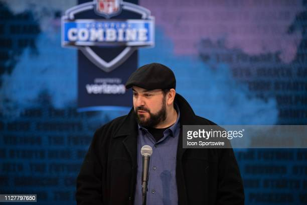 Detroit Lions head coach Matt Patricia answers questions from the media during the NFL Scouting Combine on February 27 2019 at the Indiana Convention...