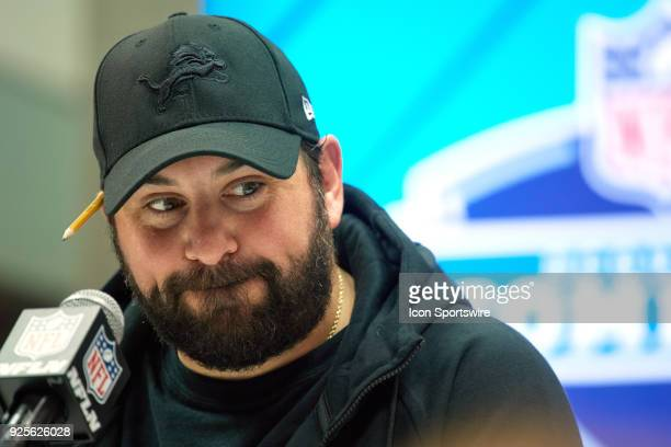 Detroit Lions head coach Matt Patricia answers questions from the media during the NFL Scouting Combine on February 28 2018 at Lucas Oil Stadium in...