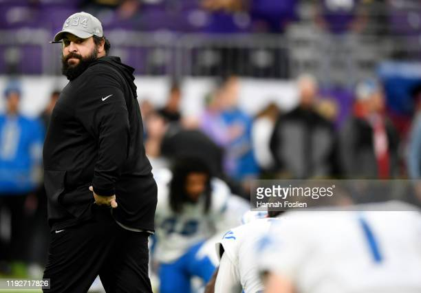 Detroit Lions head coach Matt Patricia during the first quarter against the Minnesota Vikings at U.S. Bank Stadium on December 08, 2019 in...