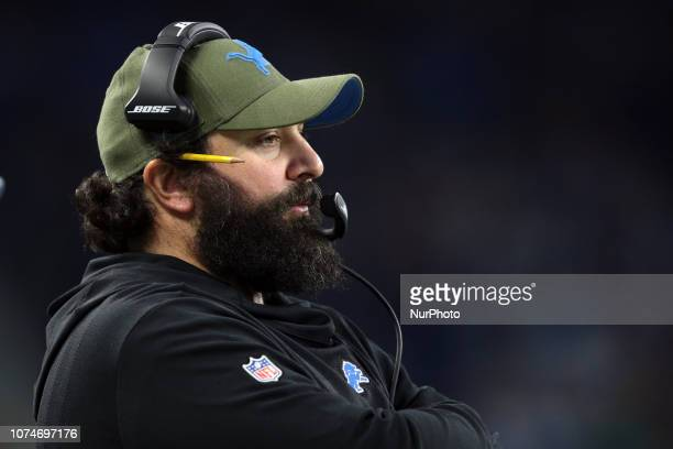 Detroit Lions head coach Matt Patricia follows the play during the second half of an NFL football game against the Minnesota Vikings in Detroit...