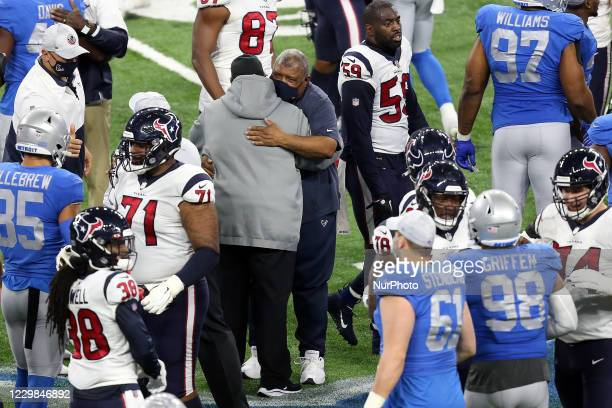 Detroit Lions head coach Matt Patricia greets Houston Texans interim head coach Romeo Crennel after an NFL football game between the Houston Texans...