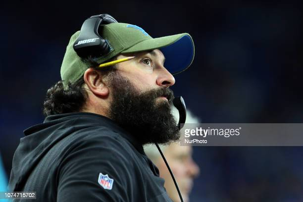 Detroit Lions head coach Matt Patricia looks on during the first half of an NFL football game against the Minnesota Vikings in Detroit Michigan USA...
