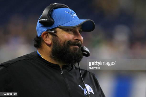 Detroit Lions head coach Matt Patricia looks on from the sidelines during the second half of an NFL football game against the Cleveland Browns in...