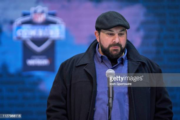 Detroit Lions head coach Matt Patricia speaks to the media during the NFL Scouting Combine on February 27 2019 at the Indiana Convention Center in...