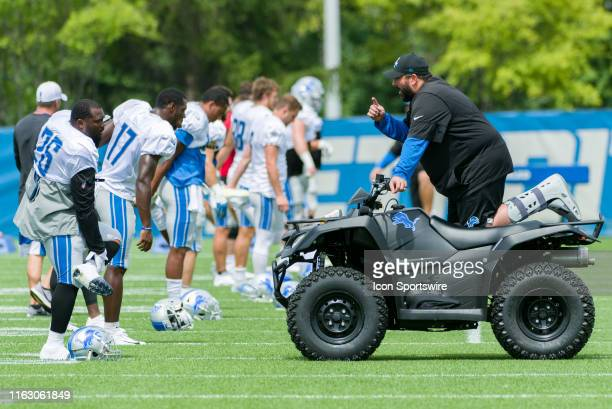 Detroit Lions head coach Matt Patricia talks to Detroit Lions RB C.J. Anderson during NFL football practice on August 20, 2019 at Detroit Lions...