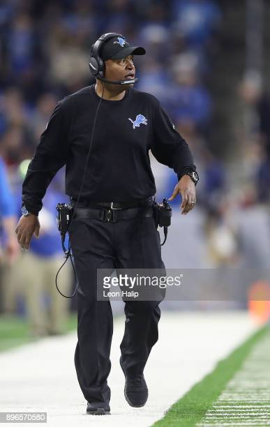 Detroit Lions head football coach Jim Caldwell watches the action late in the fourth quarter of the game against the Chicago Bears at Ford Field on...