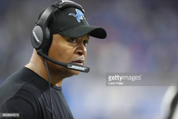 Detroit Lions head football coach Jim Caldwell watches the action during the third quarter of the game against the Green Bay Packers at Ford Field on...