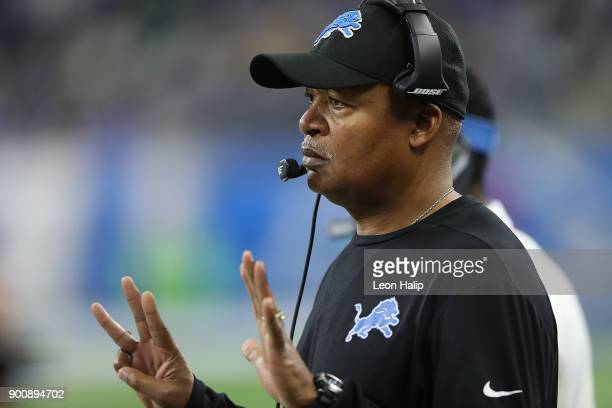 Detroit Lions head football coach Jim Caldwell watches the action from the sidelines during the fourth quarter of the game against the Green Bay...
