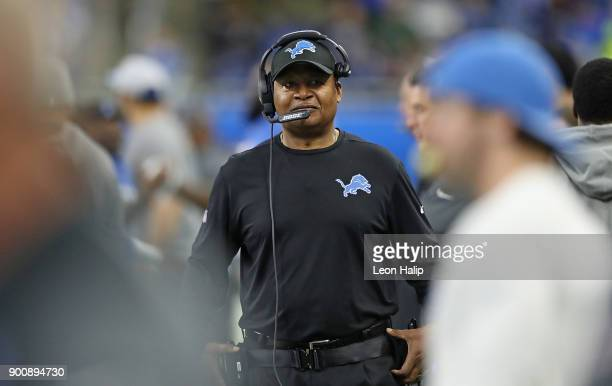 Detroit Lions head football coach Jim Caldwell watches the action during the game against the Green Bay Packers at Ford Field on December 31, 2017 in...