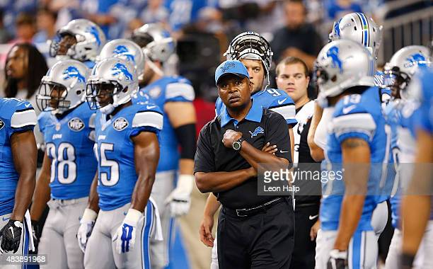 Detroit Lions head football coach Jim Caldwell watches the warms ups prior to the start of the preseason game against the New York Jets on August 13...