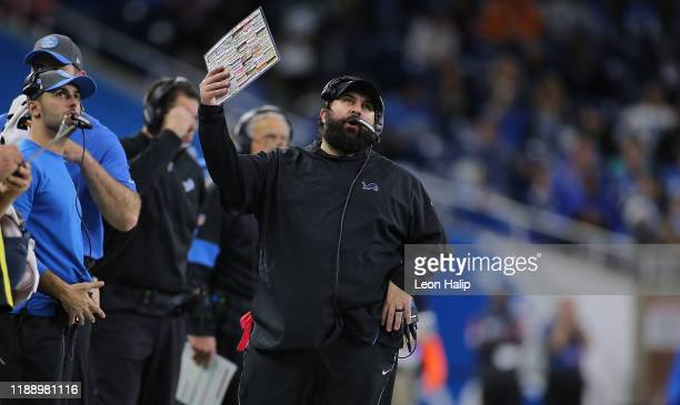 Detroit Lions Head Football Coach Matt Patricia reacts to a play during the fourth quarter of the game against the Tampa Bay Buccaneers at Ford Field...